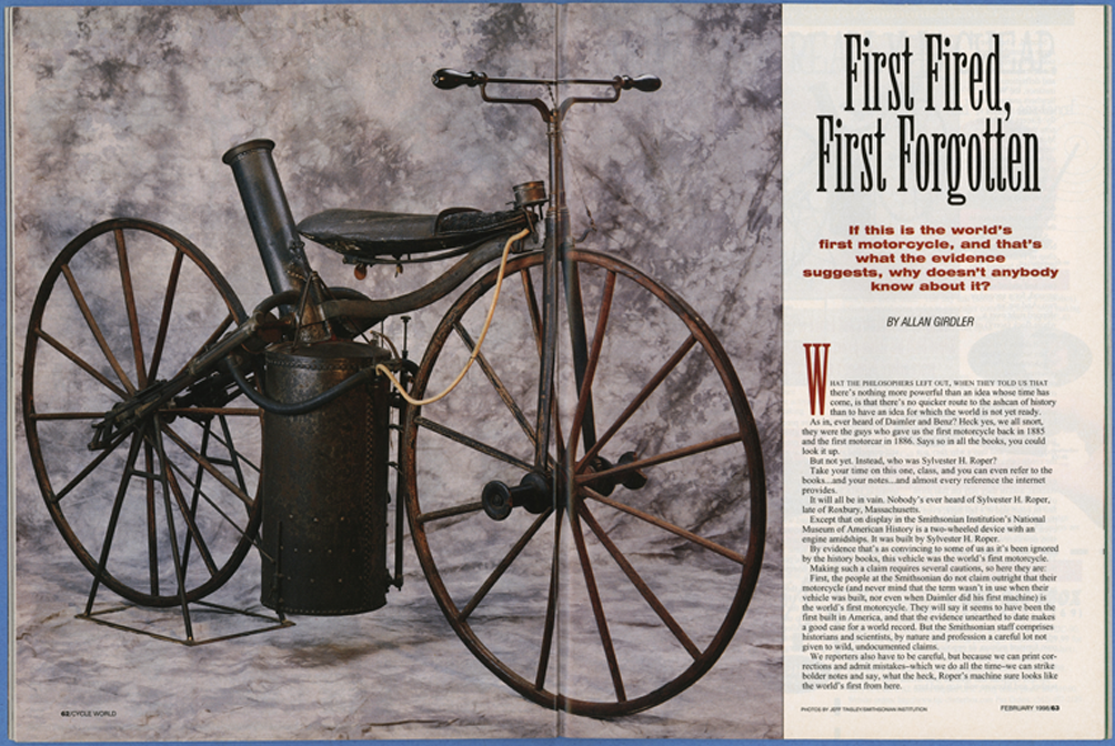 Roper Steam Wagon, Cycle World Magazine Article, February 1998