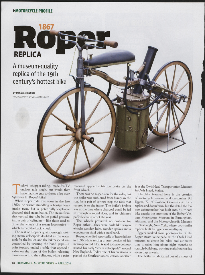 Sylvester Roper Steam Bicycle, Hemmings Motor News, April 2014
