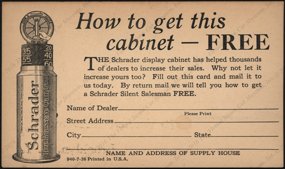 A. Schrader's Son, Inc.  Advertising Post Card July 1926 Tire Pressure Gauges Front