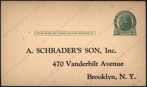 A. Schrader's Son, Inc.  Advertising Post Card July 1926 Tire Pressure Gauges Reverse