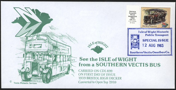 Darracq Serpollet Steam Bus 1909, August 12, 1983 First Day Cover Commemorative Stamp