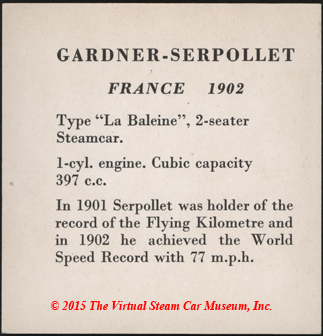 Serpollet Collector Card with 1901 and 1902 World Speed Records, Reverse