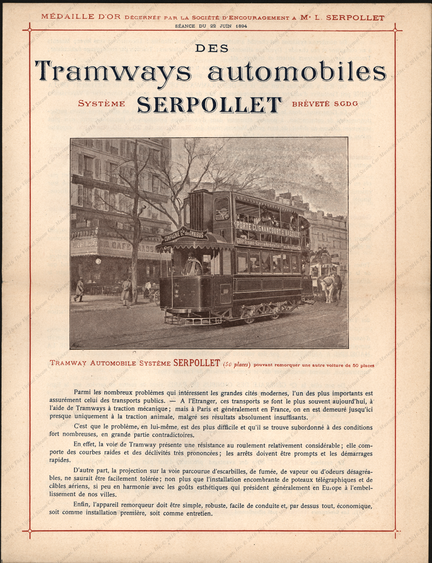 Serpollet Tramway Automobile System Brochure, France, June 22, 1894