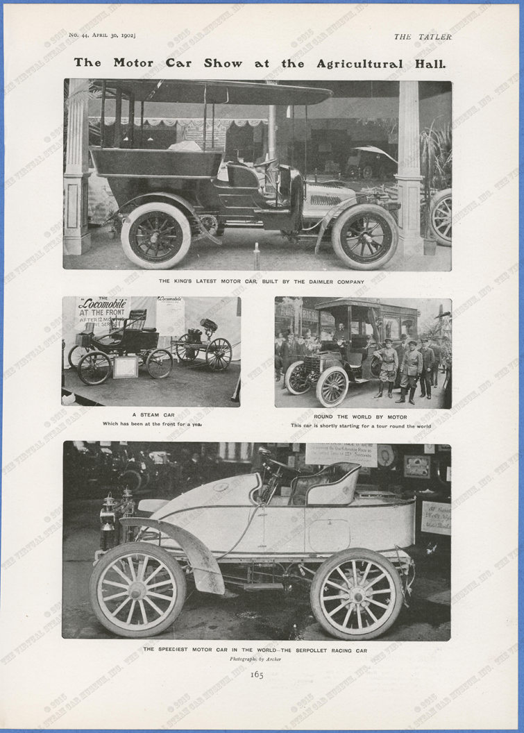 Serpollet Racing Car and Locomobile Military Car, The Tatler, April 30, 1902, p. 165