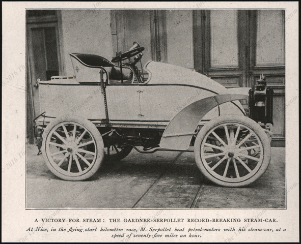 Serpollet Steam Race Car, ca: 1902 Magazine Image