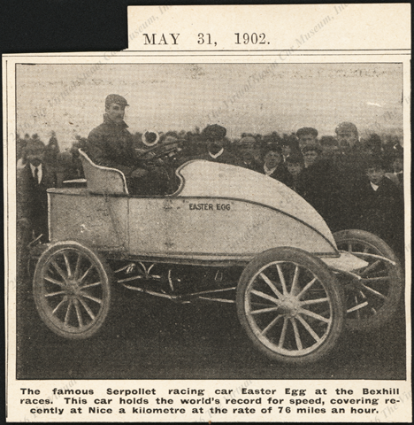Serpollet Race Car, Bexhill Races, May 31, 1902, Illustrated M_____ Magazine.