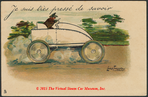 Serpollet Racing Car, Nice, France, ca: 1902, Artist Signed Postcard Lance Thackeray