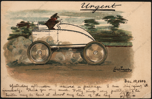 Serpollet Steam  Race Car  Post Card, Artist Signed, December 20, 1904  Front