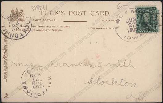 Serpollet Race Car Postcard, Tuck, June 27, 1906 Postmark Reverse