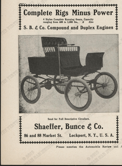 Shaeffer, Bunce, & Marvin, Magazine Advertiseuemt, Automobile Review and Automobile News, May 1902, p. 8, Conde Collection.