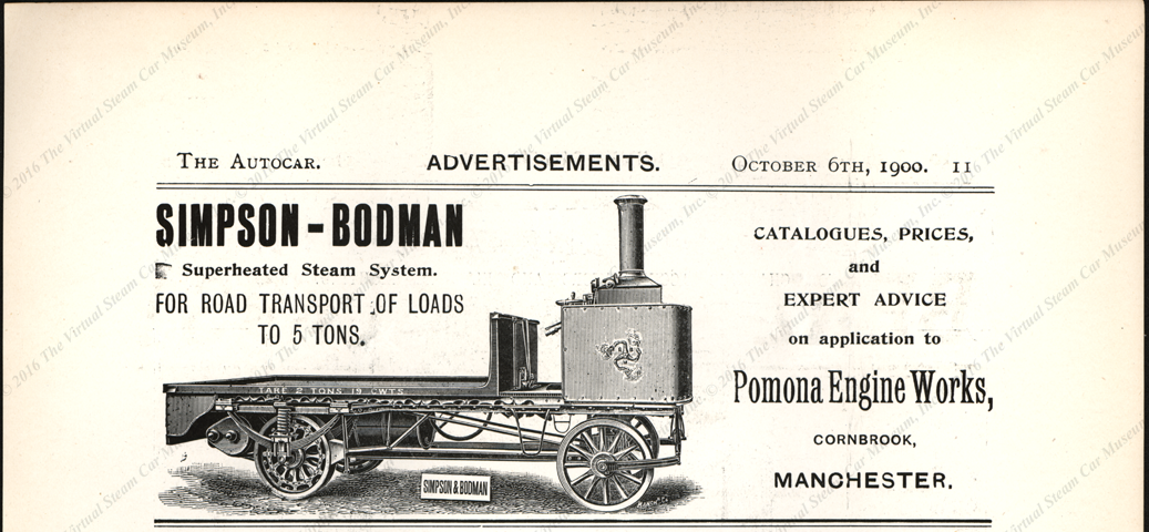 Simpson & Bodman, Pomona Engine Works, Cornbrook, Manchester.  The Autocar, October 6, 1900, page 11.