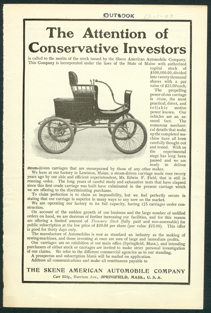 Skene American Automobile Company, Decemver 1900  Outlook Magazine