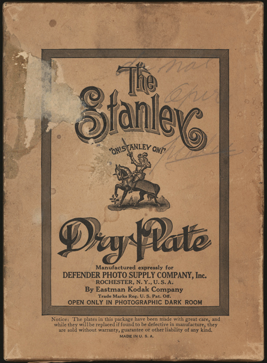 Stanley Dry Plate box, Eastman Kodak, made for Defender Photo Supply Company, Rochester, NY ca: 1905 - 1910