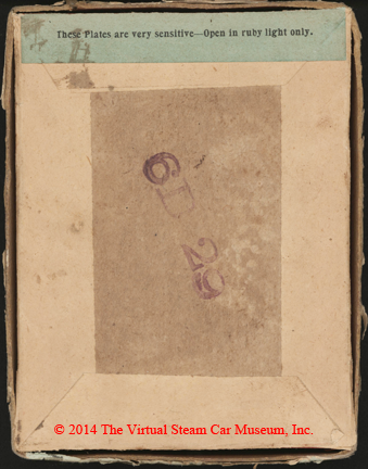 Stanley Dry Plate Company box, Newton, MA, ca: 1885 reverse