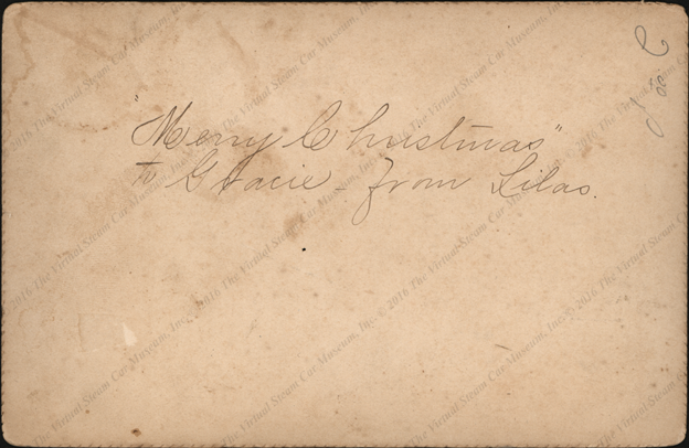 F. E. Stanley Photographic Studio, Lewiston, ME, inscribed Merry Christmas to Gracie from Lilas,  Reverse