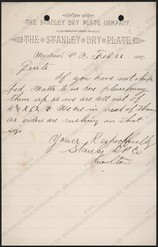 Stanley Dry Plate Company, February 26, 1887, Letter to Unknown Supplier