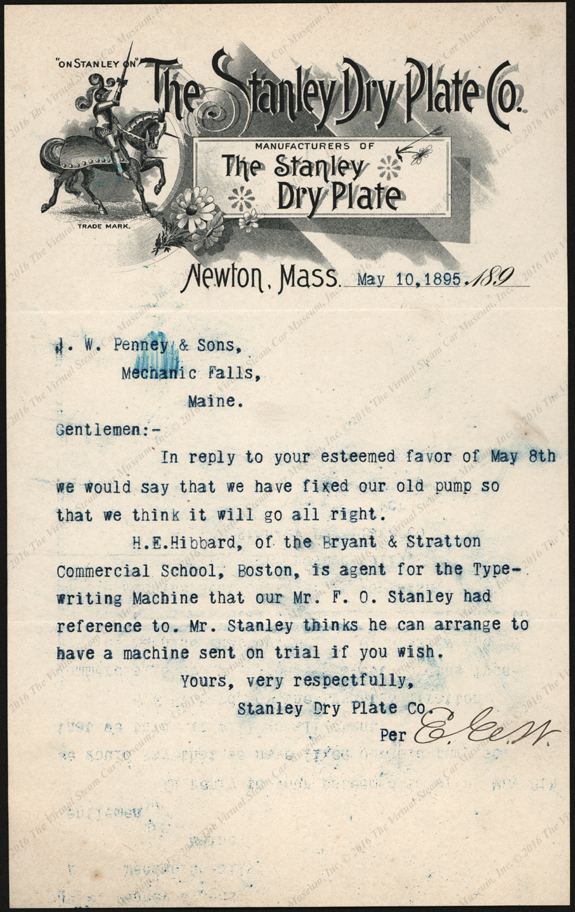 Stanley Dry Plate Company Letterhead, May 10, 1895, F. O. Stanley, J. H. Penney & Sons. Bryant & Stratton Commercial School, Boston, H. E. Hibbard Typewriter Use