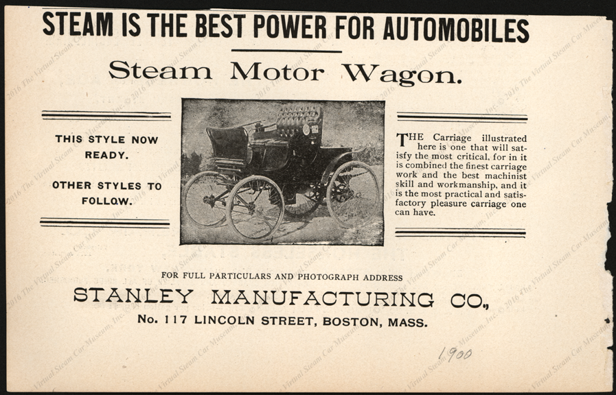 Stanley Manufacturing Company, Horseless Age Magazine Advertisement, Unknown Month, 1900
