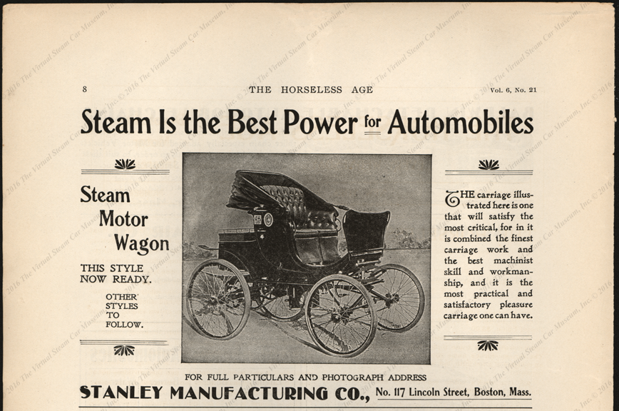 Stanley Manufacturing Company, Horseless Age Magazine Advertisement, August 22, 1900, Vol. 6, No. 21, page 8