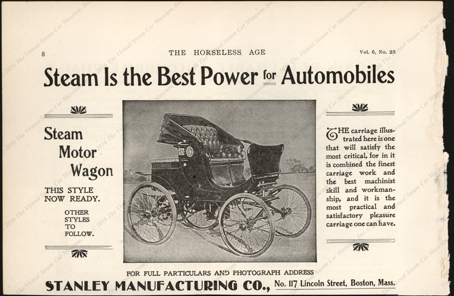 Stanley Manufacturing Company, Horseless Age Magazine Advertisement, September 5, 1900, Vol. 6, No. 23, page 8