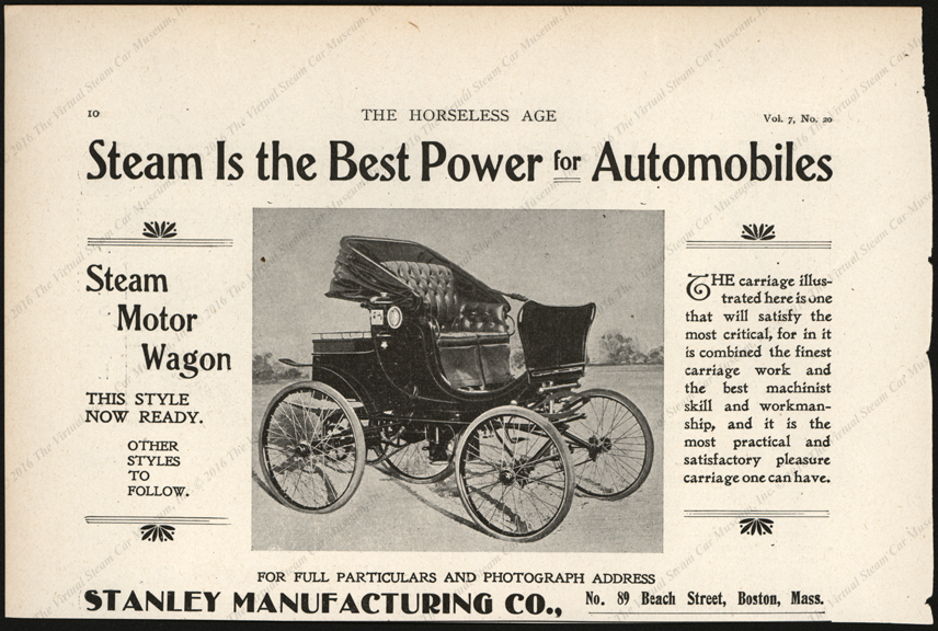 Stanley Manufacturing Company, Horseless Age Magazine Advertisement, February 13, 1902, Vol. 7, No. 29, page 10