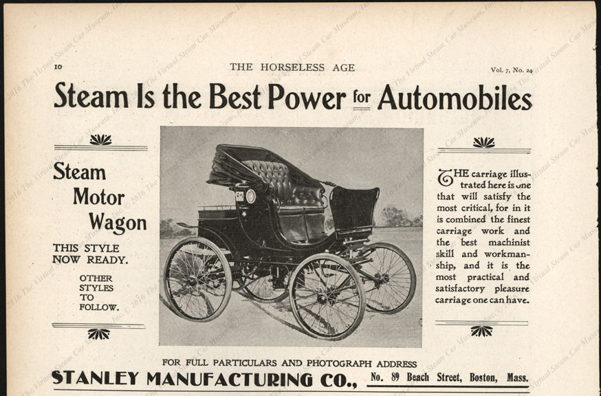 Stanley Manufacturing Company, Horseless Age Magazine Advertisement, March 3, 1903, Vol. 7, No. 24, page 10
