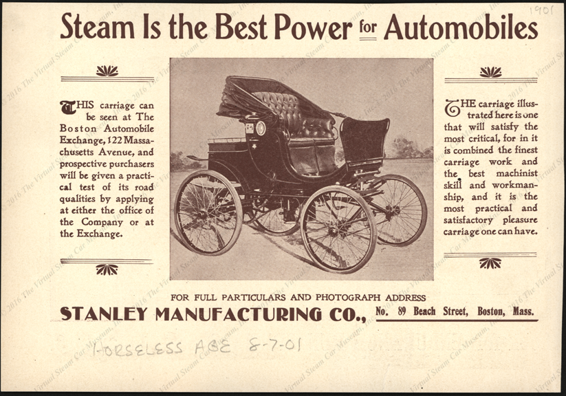 Stanley Manufacturing Company, Magazine Advertisement, August 7, 1901, Horseless Age.