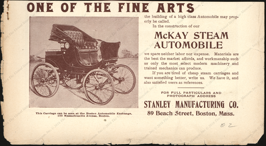 Stanley Manufacturing Company, Horseless Age Magazine Advertisement, Unknown Month, 1902