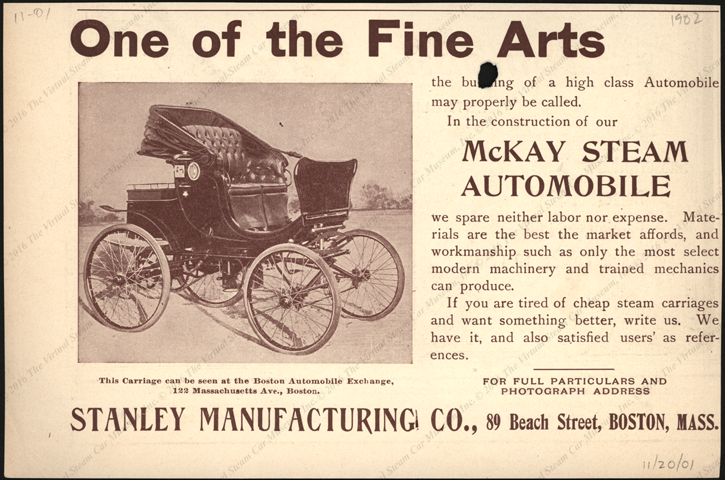 Stanley Manufacturing Company, Horseless Age, November 20, 1901 advertisement