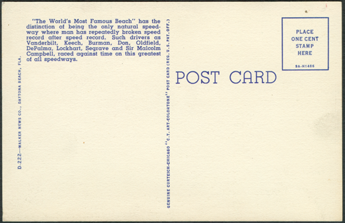 Ormond Beach Linen Post Card ca: 1930s
