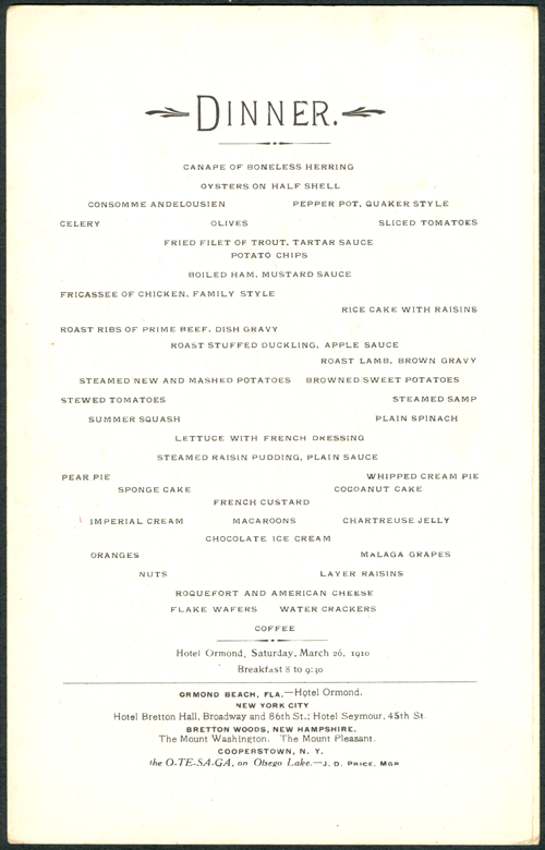 Ormond Hotel Menu