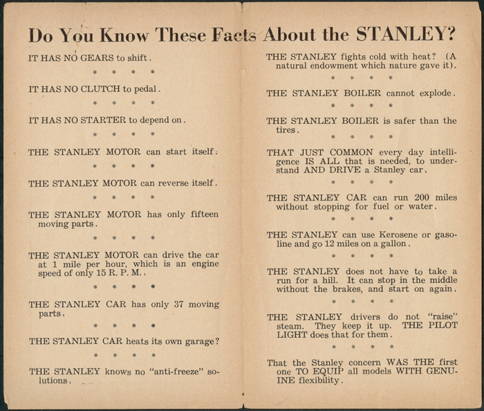 Stanley Steam Motors Co Brochure Interior