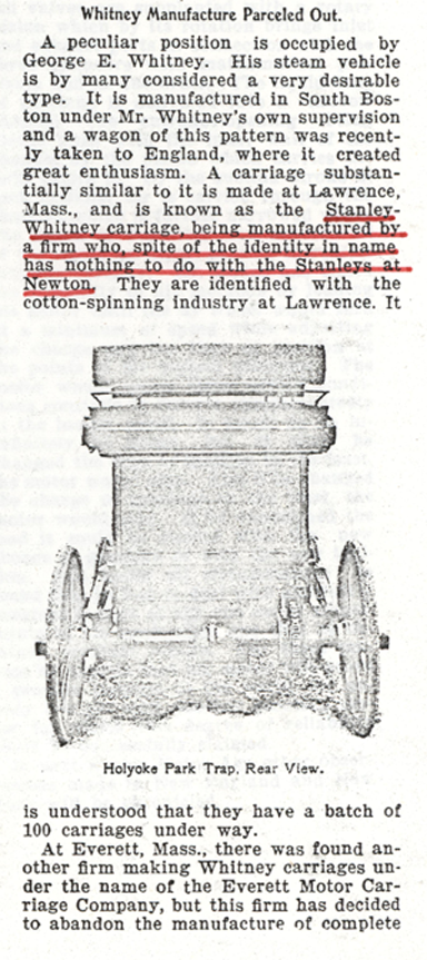 Stanley-Whitney Steam Carriage, Motor Age, September 12, 1899, p. 7, Photocopy, Conde Collection.