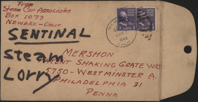 Steam Car Associates, Envelope Addressed to Mershon Patent Shaking Grate, December 30, 1949