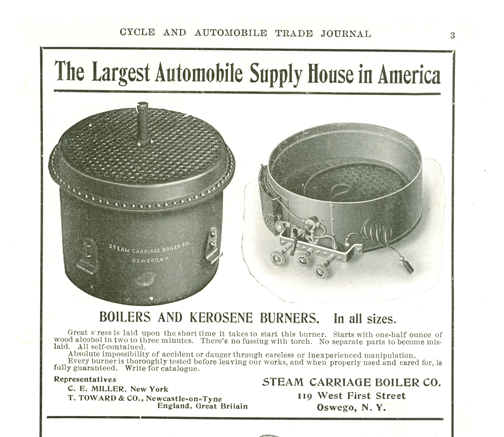 Steam Carriage Boiler Company, 1904 Advertisement, Cycle & Automobile Trade Journal, p. 3.