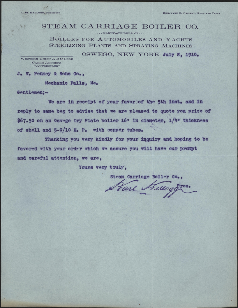 Steam Carriage Boiler Company, Oswego, NY, July 8, 1910 Letter, Front
