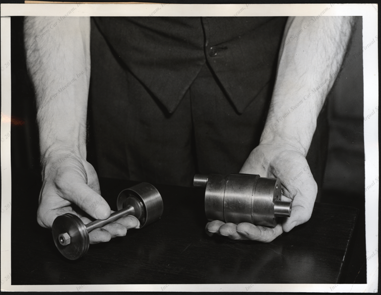 Steam Motors, Inc. Press Photograph, June 1, 1938, Piston and crosshead crankshaft, Front