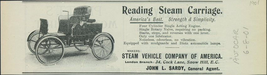 Reading Steam Carriage, Steam Vehicle Company of America, The Autocar, June 8, 1901