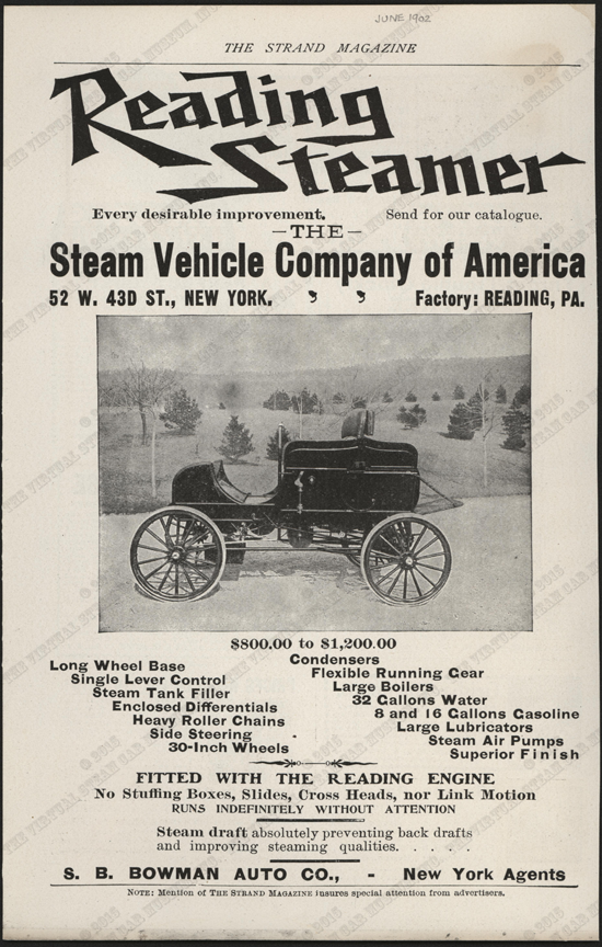 Steam Vehicle Company of America, June 1902 Magazine Advertisement, The Strand Magazine, Conde Collection.