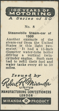 Steamobile Steam Car, 1900, London Confectioners Card,  Reverse