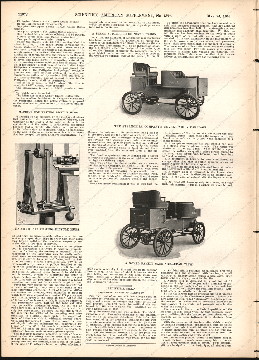 Steamobile Company of America, Scientific American Supplement Article, May 24, 1902, page 22072, Supplement Numbe 1377.