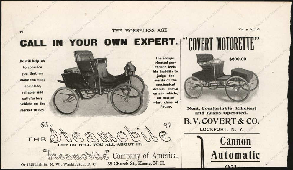 Steamobile COmpany of America, Magazine Advertisement, Horsless Age, April 16, 1902, VOll. 9, NO. 2, page V
