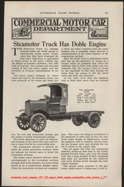 Steamotor Truck Comany, August 1917, Doble Steam Engine,  Automobile Trade Journal, p. 277