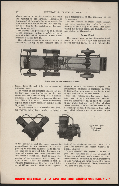 Steamotor Truck Comany, August 1917, Doble Steam Engine,  Automobile Trade Journal, p. 278