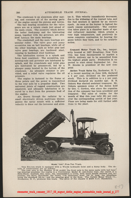 Steamotor Truck Comany, August 1917, Doble Steam Engine,  Automobile Trade Journal, p. 279