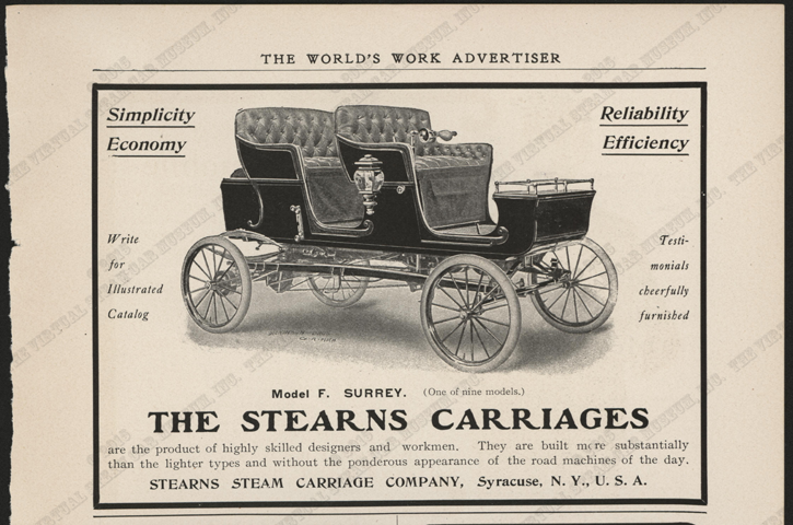 Stearns Steam Carriage Comany, ca: 1902, Worlds Work Magazine, Conde Collection
