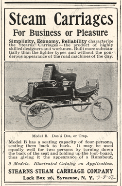 Stearns Steam Carriage Company, Harpers Weekly, March 8, 1902, page 319