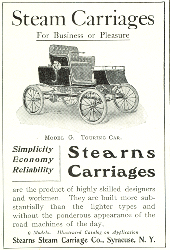 Stearns Steam Carriage Company, July 1902, Country Life in America, p. lxi