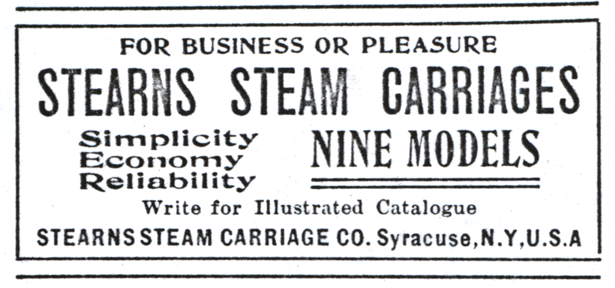 Stearns Steam Carriage Company advertisement, The Automobile, January 3, 1903, p. 49