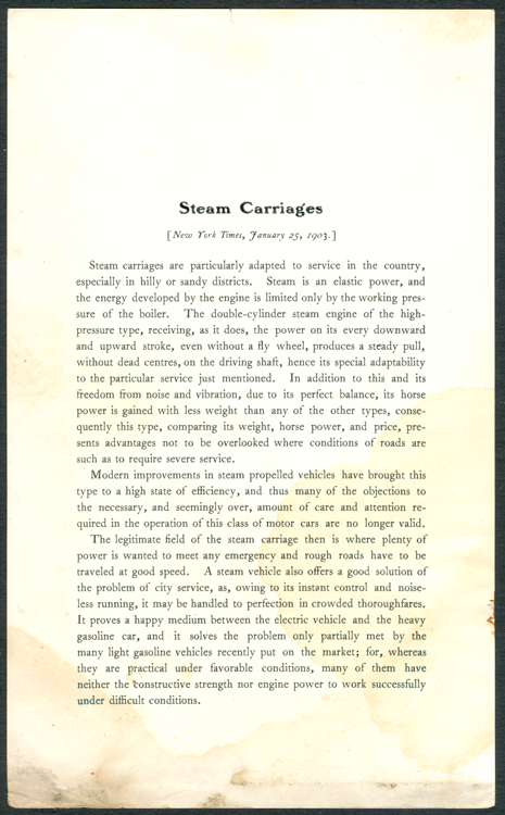 Stearns Steam Carriage Company, New York Times Article, January 25,1903.